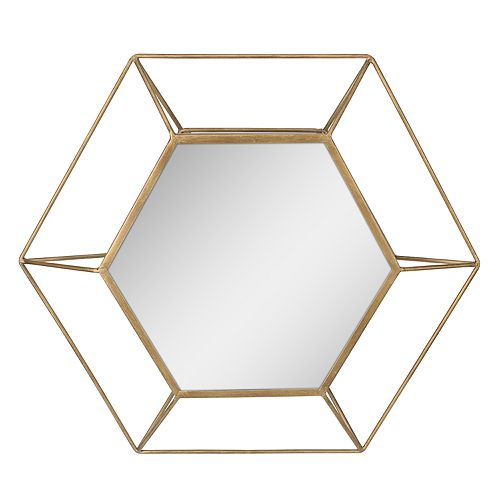 Stonebriar Collection Gold Hexagon Frame Hanging Wall Mirror