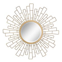 Stonebriar Collection Gold Geometric Metal Sunburst Hanging Mirror