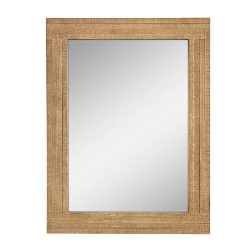 Stonebriar Collection Natural Wood Frame Hanging Wall Mirror