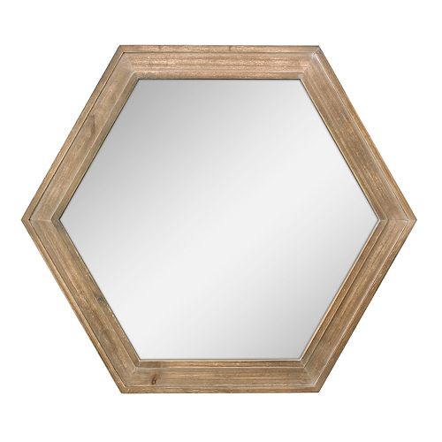 Stonebriar Collection Natural Wood Hexagon Hanging Wall Mirror
