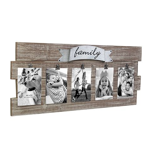 "Stonebriar Collection Rustic Wood Collage Picture Frame w/Five 4"" x 6"" Openings"