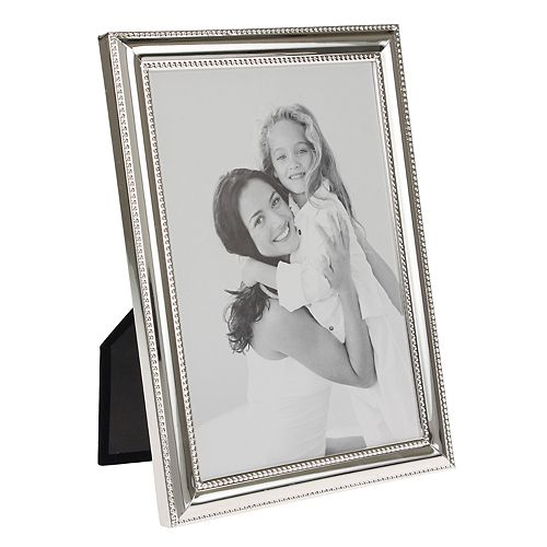 "Stonebriar Collection 5"" x 7"" Decorative Silver Metal Photo Frame with Textured Border"