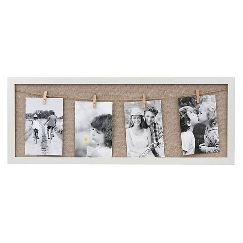 Stonebriar Collection Decorative White Collage Frame with Clothespin Clips