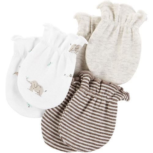 Baby Carter's 3-Pack Solid & Print Mitts
