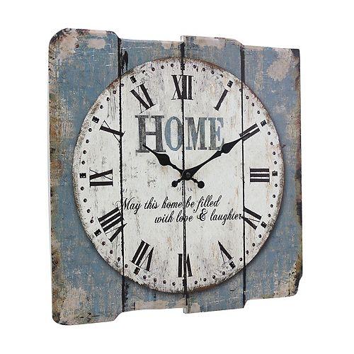 "Stonebriar Square 15"" Rustic Farmhouse Worn Wall Clock"