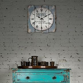 "Stonebriar Square 15"" Rustic Farmhouse Worn Wall Clock"