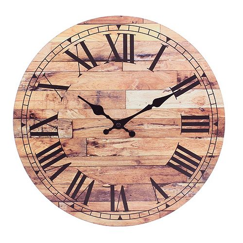 Stonebriar Old Fashioned Round Wood Wall Clock