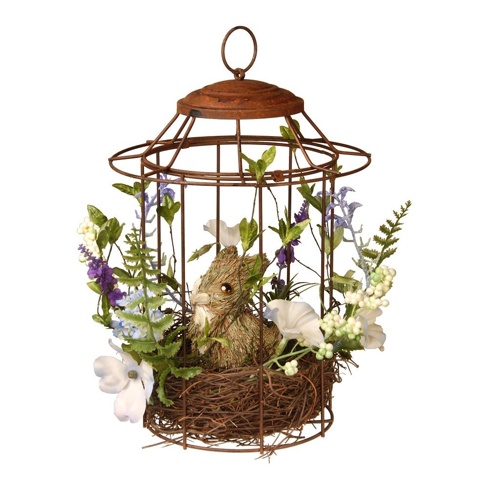 National Tree Company Artificial Easter Bunny Cage Floor Decor
