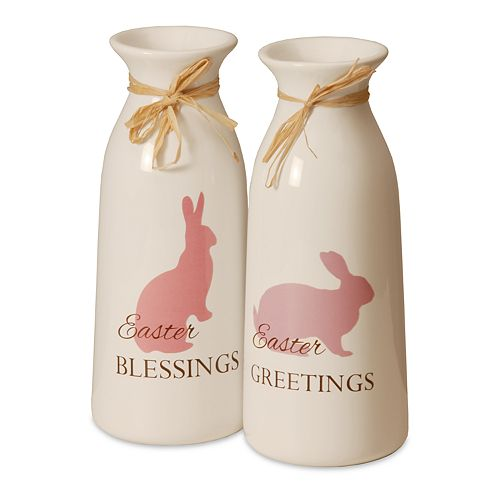 National Tree Company Easter Pink Milk Bottle Table Decor 2-piece Set