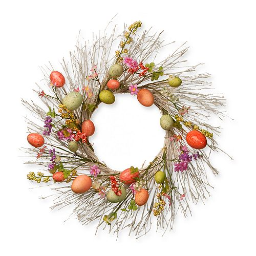 """National Tree Company 24"""" Artificial Branch & Easter Egg Wreath"""