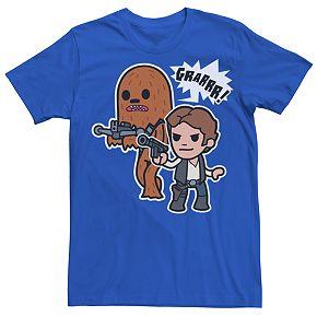 Men's Star Wars Cartoon Chewie And Han Solo Tee