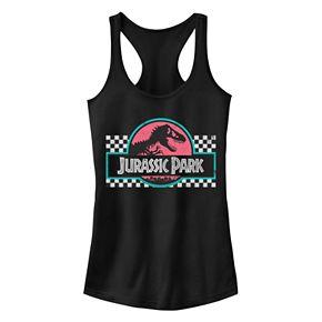 Juniors' Jurassic Park Checkered Racerback Tank Top