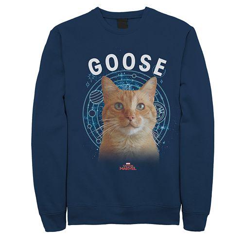 Juniors' Captain Marvel Goose Cat Portrait Fleece Sweatshirt