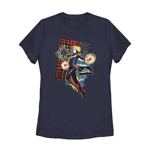 Juniors' Captain Marvel '90s Grunge Patch Graphic Tee
