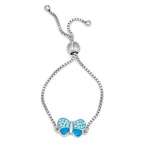 Charming Girl Crystal Butterfly Charm Adjustable Bracelet