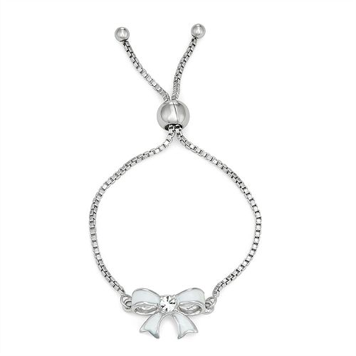 Charming Girl Crystal Bow Charm Adjustable Bracelet