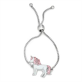 Charming Girl Crystal Unicorn Charm Adjustable Bracelet