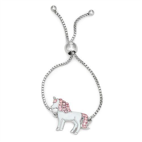 Charming Girl Crystal Unicorn Charm Adjustable Bracelet