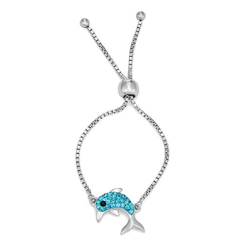 Charming Girl Crystal Dolphin Charm Adjustable Bracelet