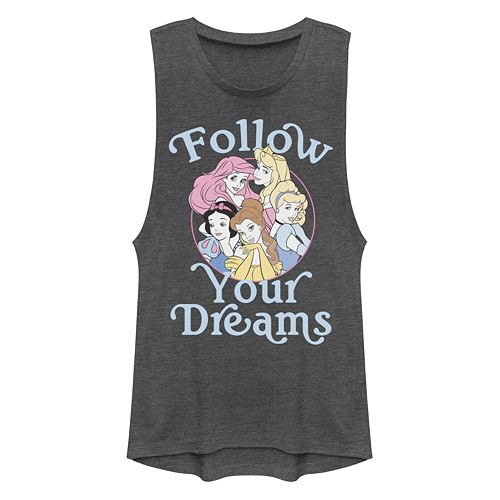 "Juniors' Disney's Princesses ""Follow Your Dreams"" Muscle Tank"