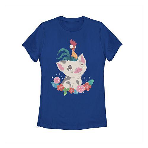 Juniors' Disney's Moana Pua Hei Hei Tropical Buddies Graphic Tee