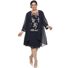 Plus Size Le Bos Floral Lace Embroidered Duster & Dress Set