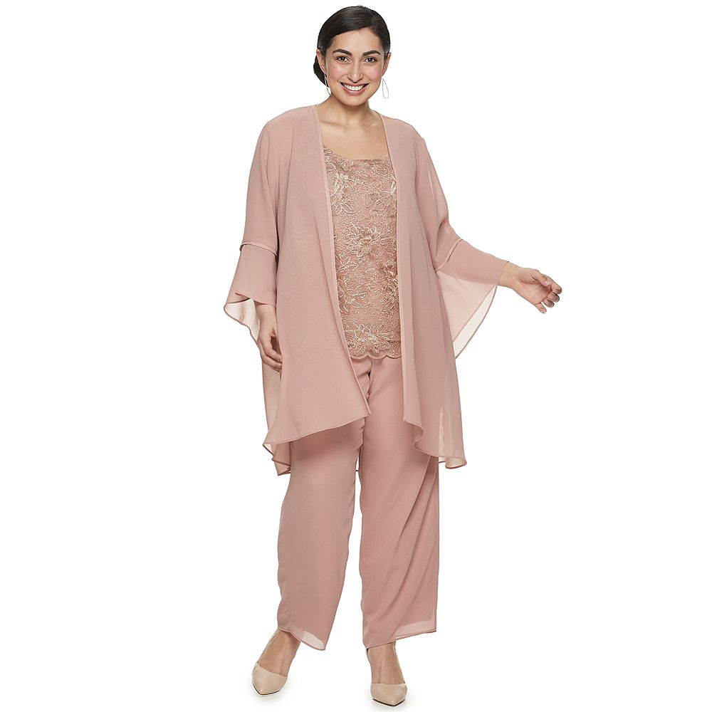Plus Size Le Bos Embroidered Duster 3-pc. Pant Set