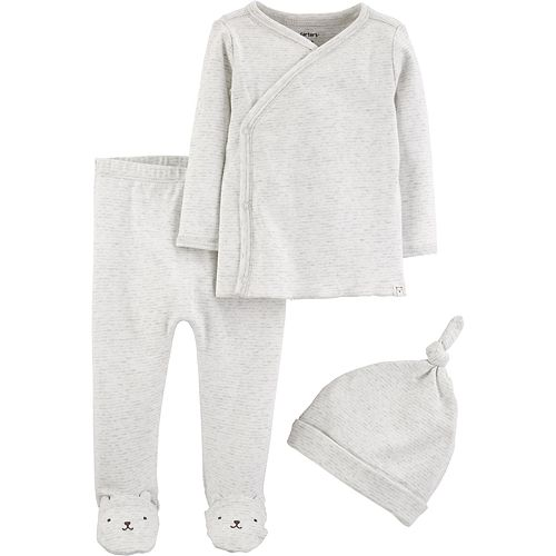 Baby Carter's 3 Piece Kimono Top, Footed Pants & Hat Set