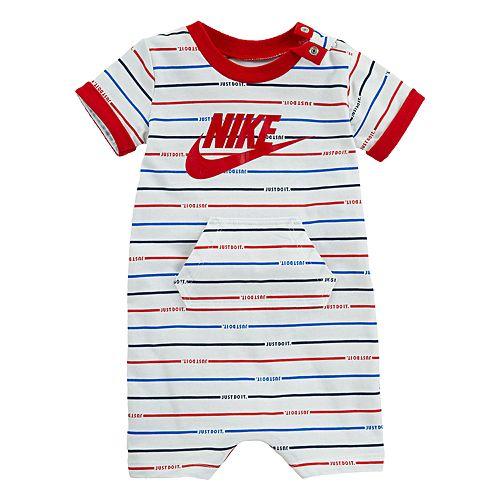 872c4f667fc Baby Boy Nike Striped Logo Romper
