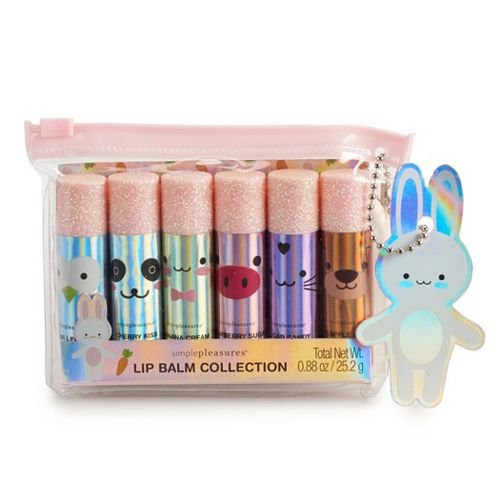 Simple Pleasures Hello Critters 6-Piece Lip Balm With Glitter Cap Set