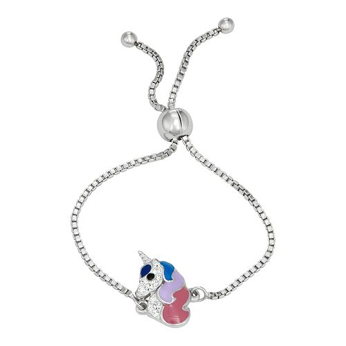 Charming Girl Crystal Unicorn Charm Bracelet