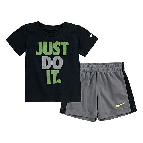 "Toddler Boy Nike ""Just Do It."" Tee & Striped Shorts Set"