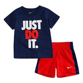 "Toddler Boy Nike ""Just Do It."" Tee & Striped Shorts Set"