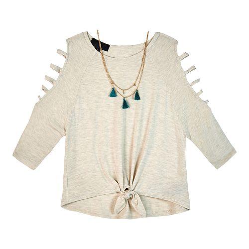 Girls 7-16 IZ Amy Byer Lattice Sleeve Pullover Top & Necklace Set