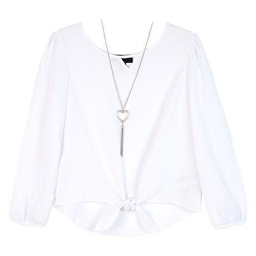 Girls 7-16 IZ Amy Byer Bell Sleeve Top & Necklace Set
