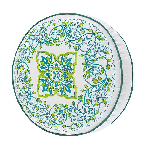 37 West Ava Green Round Pillow