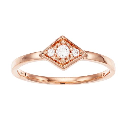 LC Lauren Conrad 10k Rose Gold 1/10 Carat T.W. Diamond Ring