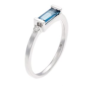 LC Lauren Conrad 10kWhite Gold London Blue Topez Diamond Ring