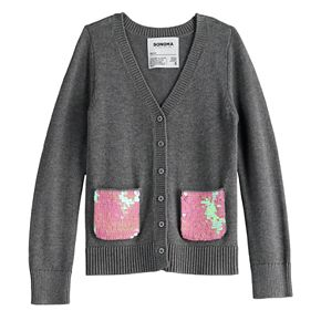 Girls 4-12 SONOMA Goods for Life? Flip-Sequin Cardigan