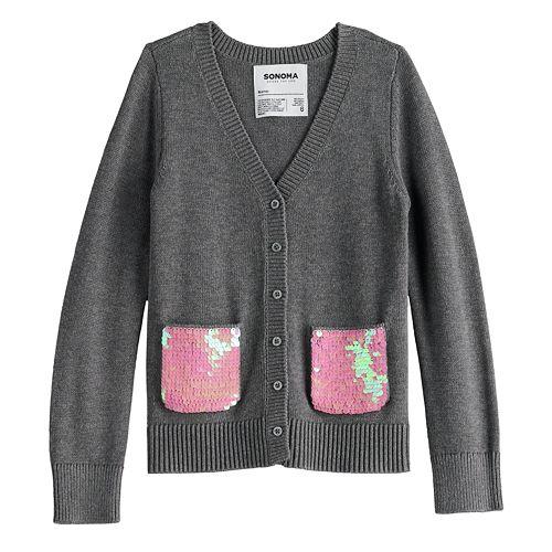 Girls 4-12 SONOMA Goods for Life™ Flip-Sequin Cardigan
