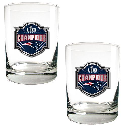 New EnglandPatriots Super Bowl LIII Champions Rocks Glass Set