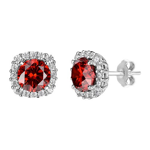 PRIMROSE Sterling Silver Cubic Zirconia Halo Stud Earrings