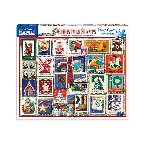 White Mountain Puzzles Christmas Stamps - 1000Piece Jigsaw Puzzle