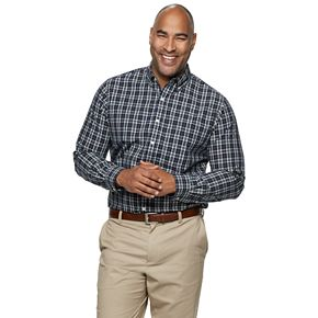 Men's Big & Tall Long Sleeve Easy Care Patterned Woven Shirt