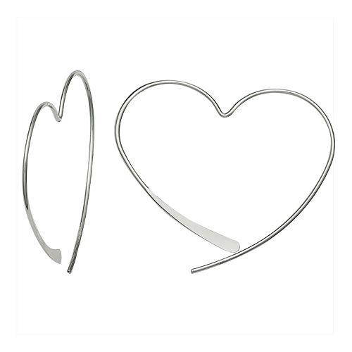 PRIMROSE Sterling Silver Heart Threader Earrings