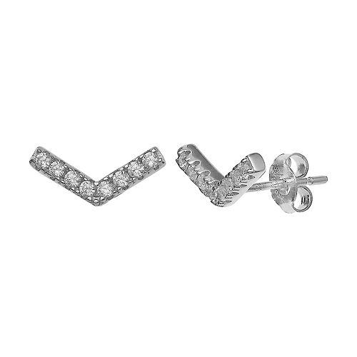 Primrose Sterling Silver Cubic Zirconia V Stud Earrings