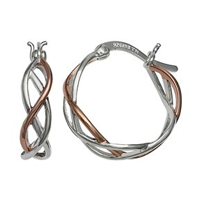 Primrose Two Tone Sterling Silver and 18k Rose Gold plated Hoop Earring