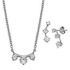 PRIMROSE Sterling Silver Cubic Zirconia Crawler Earrings & Necklace Set
