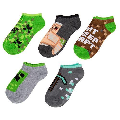 Boys 4-20 Minecraft 5-Pack No-Show Socks