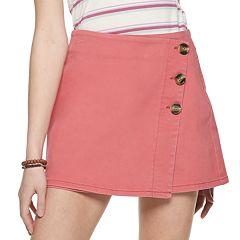 Juniors' Rewash Button Front Wrap Skirt